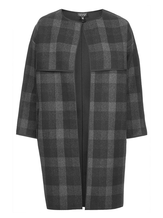 Topshop Checked Collarless Blanket Coat
