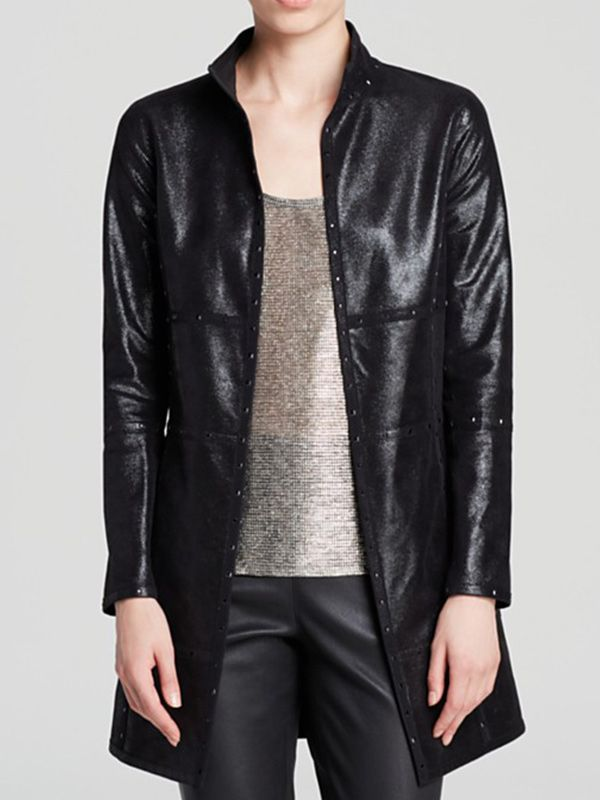 Grayse Long Faux Leather Jacket