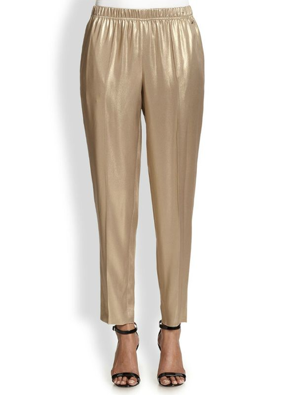 Escada Metallic Silk Trousers