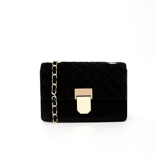 ASOS Velvet Quilted Cross Body Bag with Snake Chain and Lock