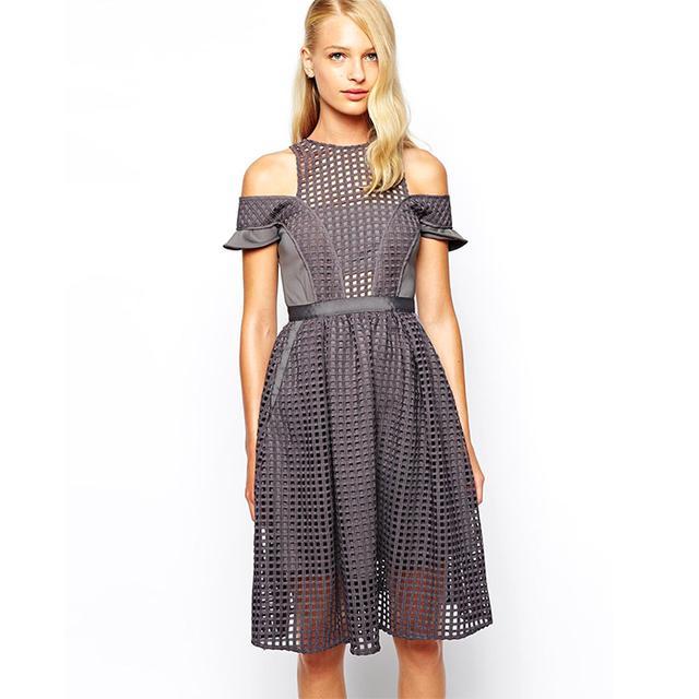 ASOS Self Portrait Stardust Midi Dress in Graphic Lace