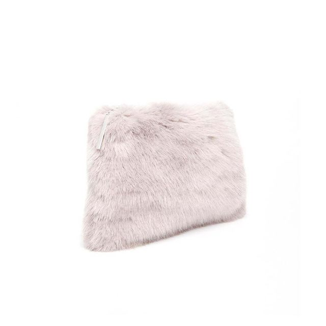 ASOS Whistles Faux Fur Clutch in Lilac