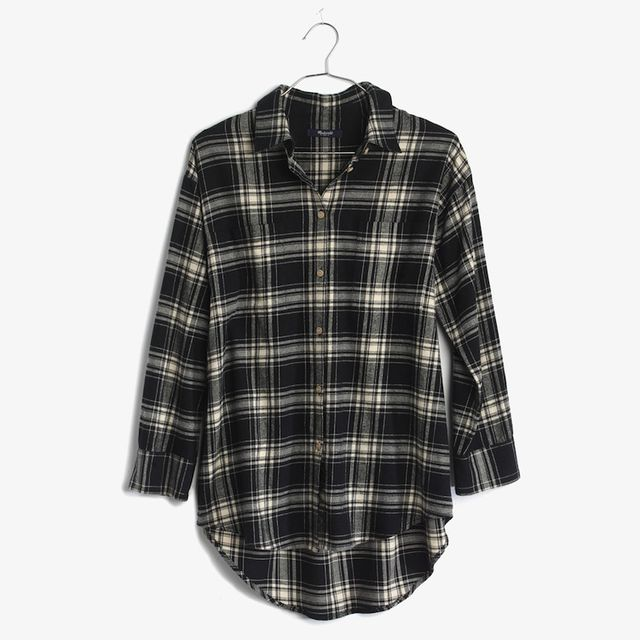Madewell Flannel Trapeze Shirt in Overcast Plaid