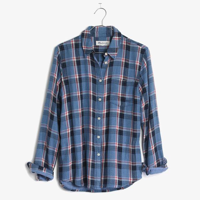 Madewell Cosy Shirt in Blue Plaid