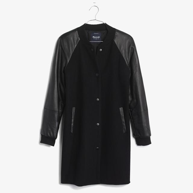 Madewell Leather-Sleeve Varsity Coat