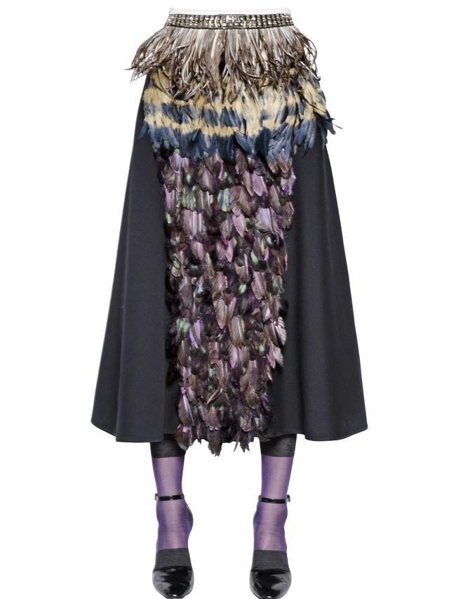 Marni Embellished Wool & Silk Garbardine Skirt