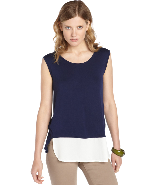 Casual Couture by Green Envelope Twilight Blue Jersey Chiffon Trim Tank