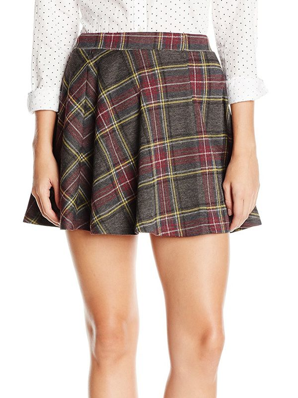 RD Style Knit Plaid Skater Skirt