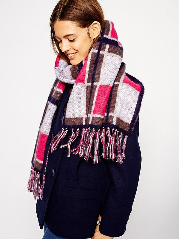 ASOS Scarf with Brushed Check and Tassel Detail