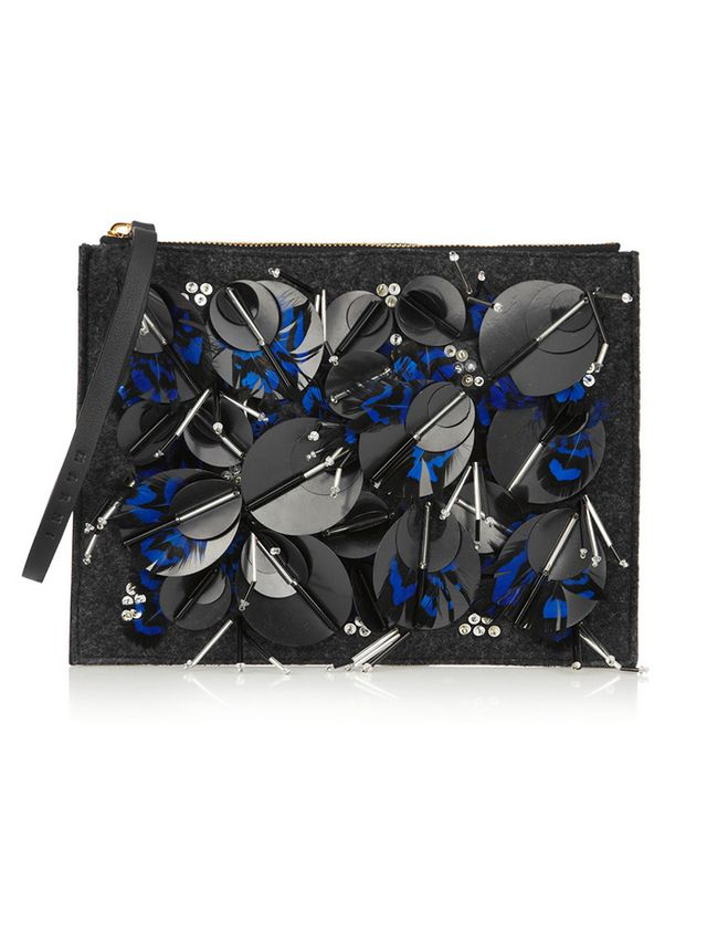 Marni Embellished Leather And Felt Clutch