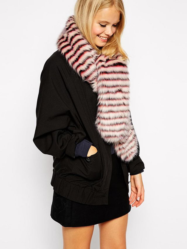 ASOS Faux Fur Scarf With White Stripe