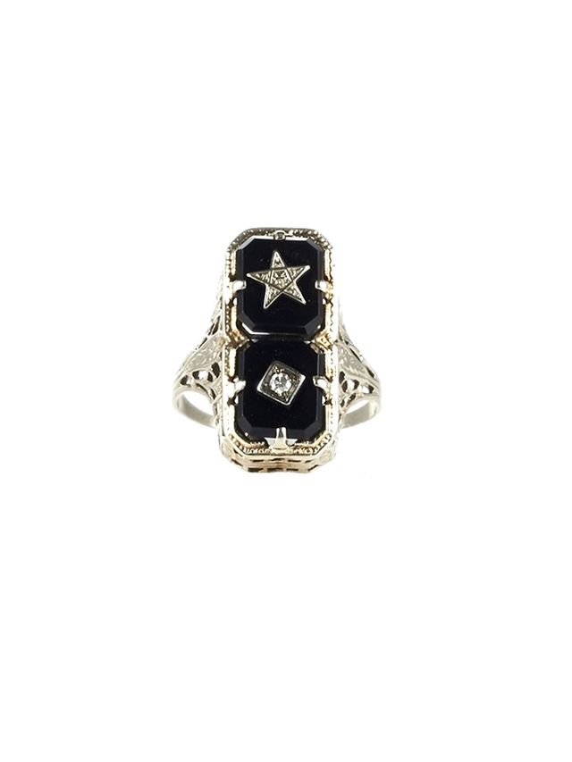 The One I Love The Art Deco Onyx Diamond Symbol Ring