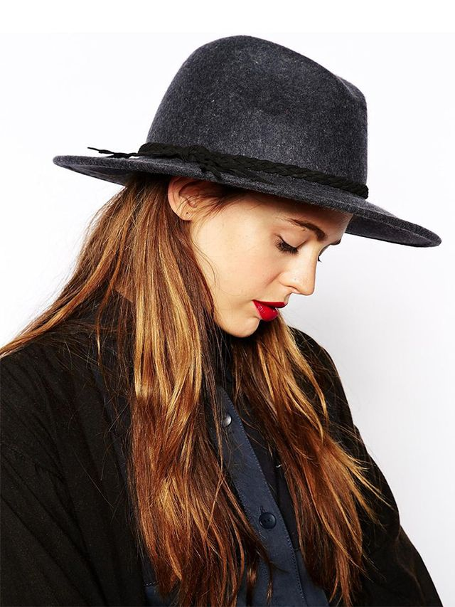 ASOS Gray Marl Braid Felt Fedora Hat