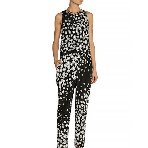 Leo Printed Stretch-Silk Jumpsuit