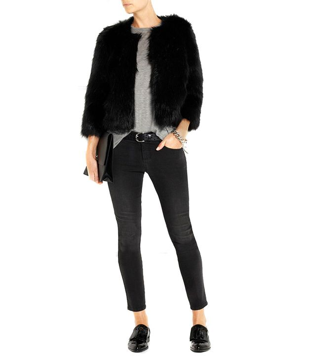 DKNY Cropped Faux Fur Coat