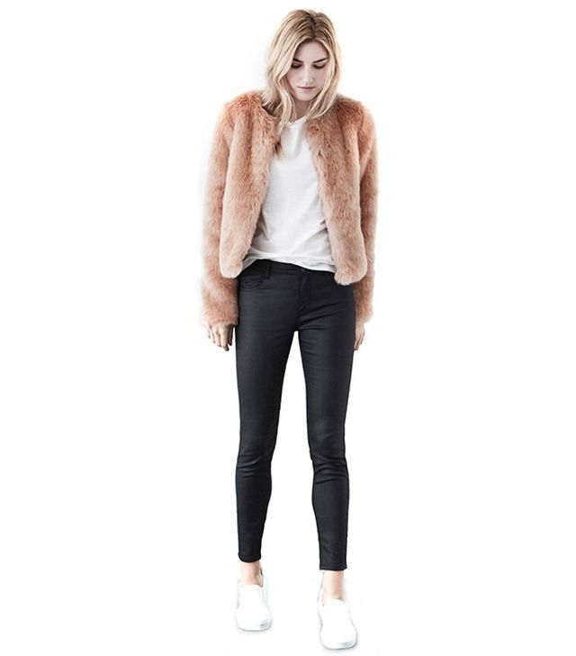 Warehouse Pink Cropped Faux Fur Jacket