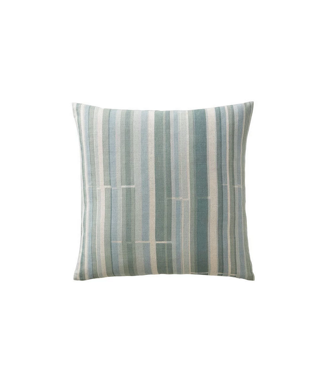Kevin O'Brien Multi-Stripe Aqua/Cream 16x16 Pillow