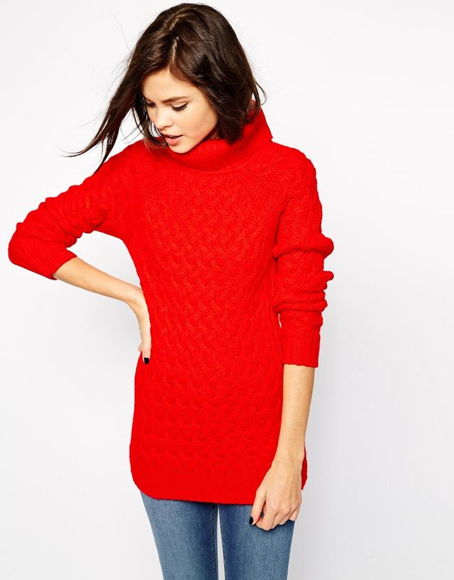 Warehouse Long Roll Neck Cable Sweater