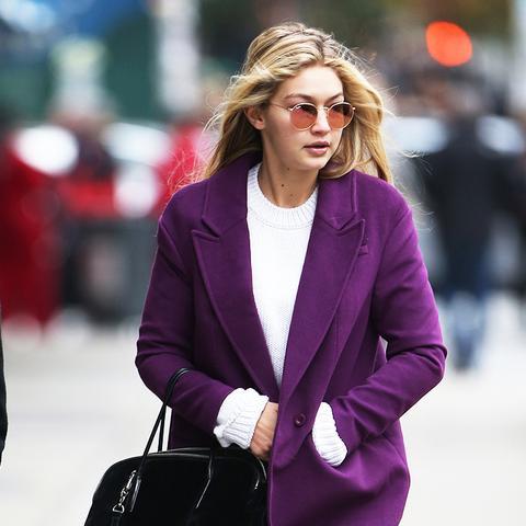 Gigi Hadid purple coat