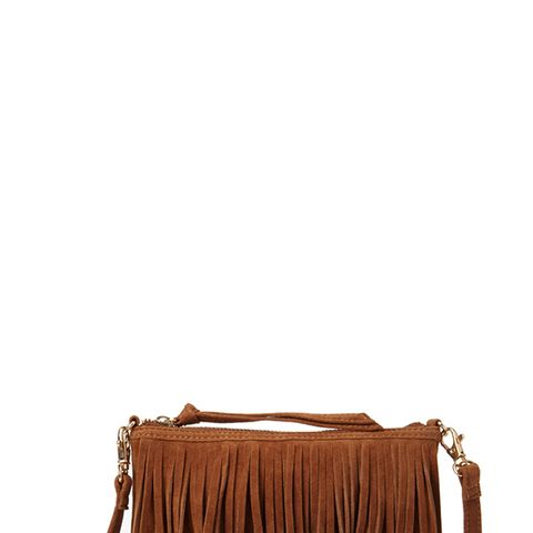 Faux Suede Fringed Crossbody