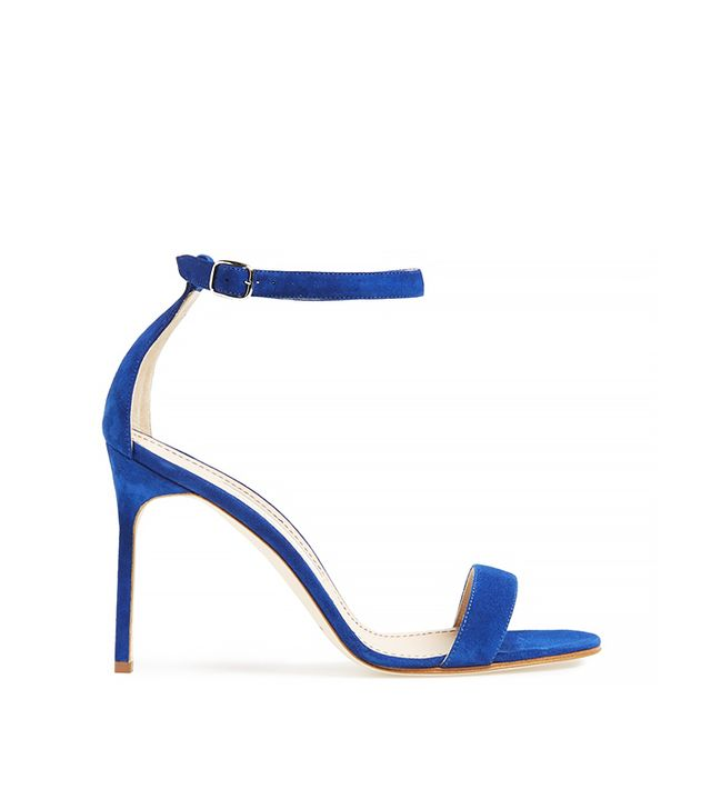 Manolo Blahnik Chaos Suede Ankle Strap Sandals