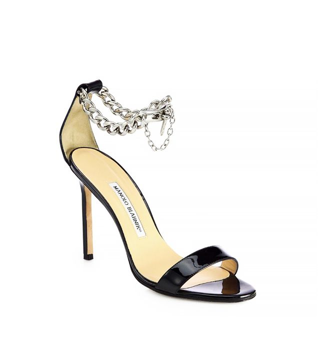 Manolo Blahnik Chaos Leather Ankle-Chain Sandals