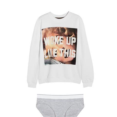 Woke Up Like This Printed Cotton Sweatshirt