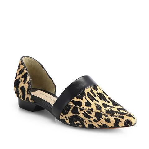 Amaris Leopard-Print Calf Hair D'Orsay Flats