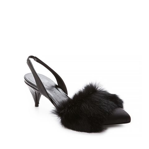 Fur Trimmed Slingback Slippers