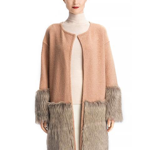 Boiled Wool Faux Fur Trim Coat