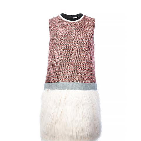 Faux Fur Panel Dress