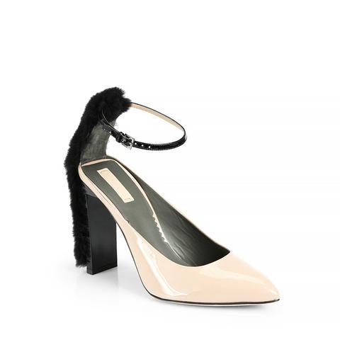 Atlas Fur & Patent Leather Ankle-Strap Pumps