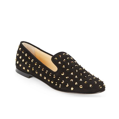 Studded Suede Smoking Slippers