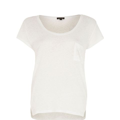 White Linen Low Scoop Neck T-Shirt