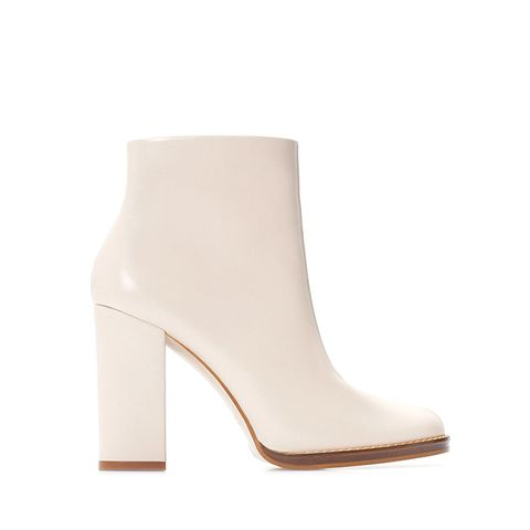 Wide Heeled Leather Bootie