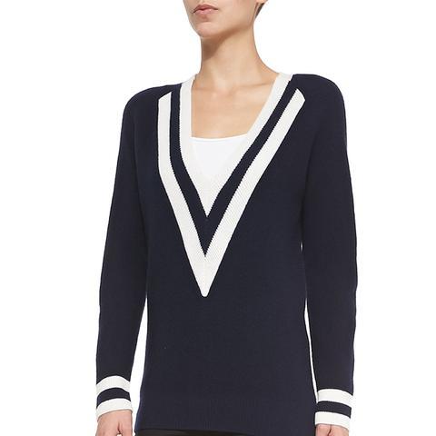 Talia V-Neck Colorblock Cashmere Sweater