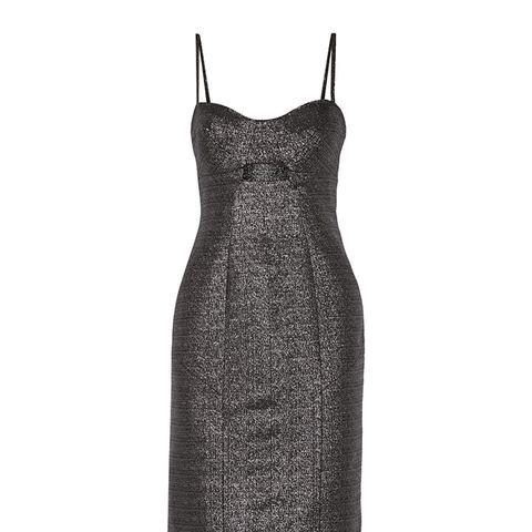 Cutout Metallic Jacquard Dress