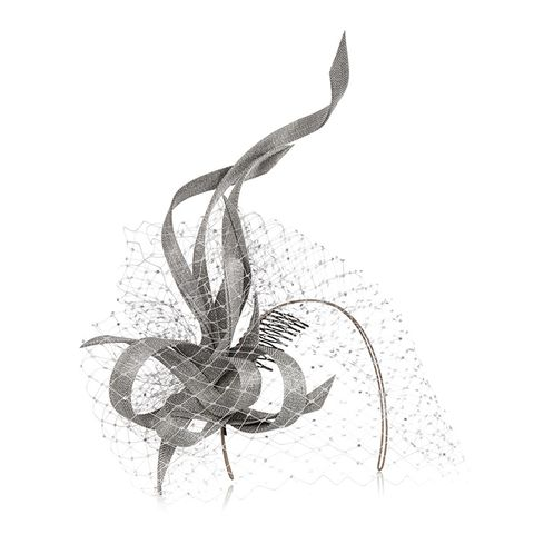 Buntal Scroll and Swarovski Crystal-Embellished Veiled Headpiece