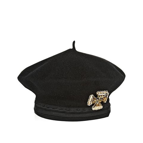 Embellished Double-Faced Wool Beret