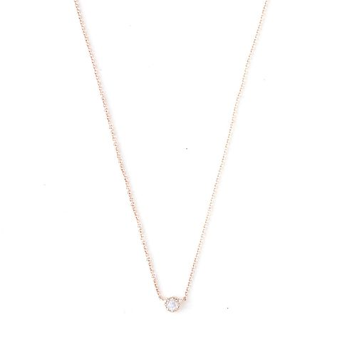 Petite Moonstone Crown Bezel Necklace