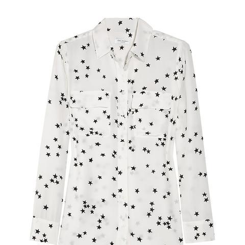 Slim Signature Printed Washed-Silk Shirt