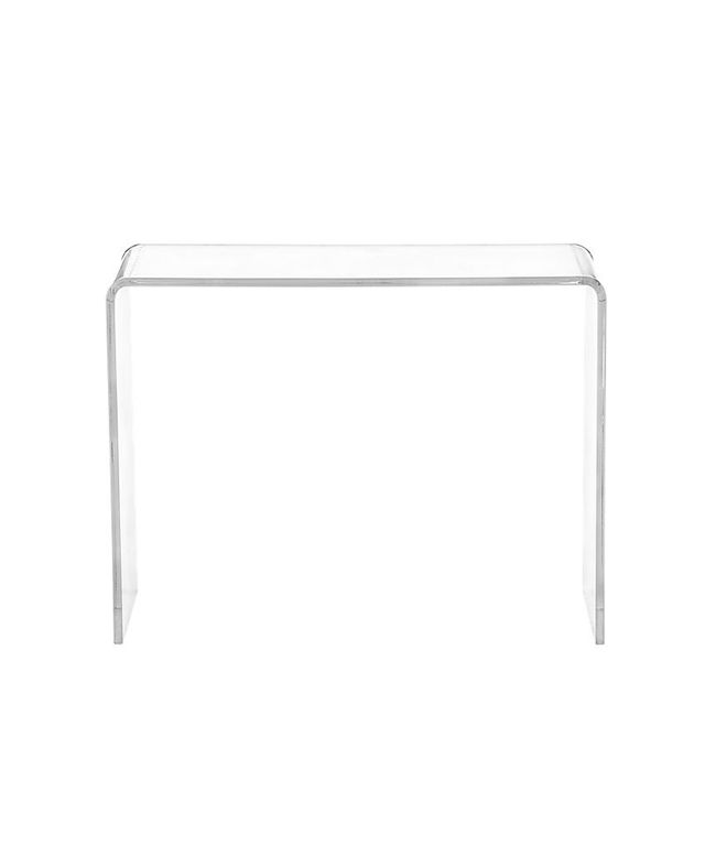 CB2 Peekaboo Clear Console Table