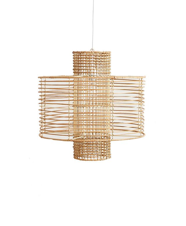 Anthropologie Deco Rattan Pendant Light