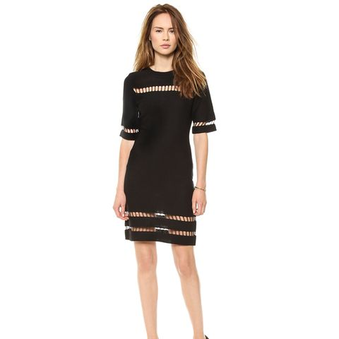 Short Sleeve Dress With Mesh Inserts