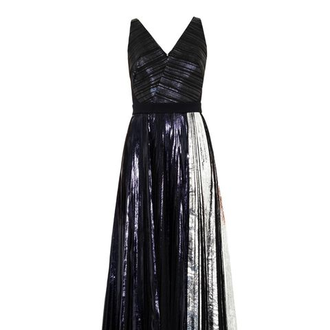 Bi-Colour Metallic Pleated Dress