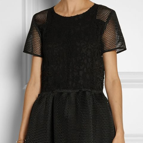 Lace and Honeycomb-Mesh Mini Dress