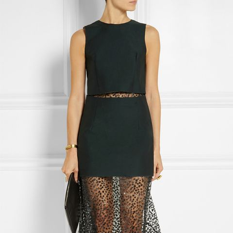 Layered Twill and Leopard-Print Voile Dress