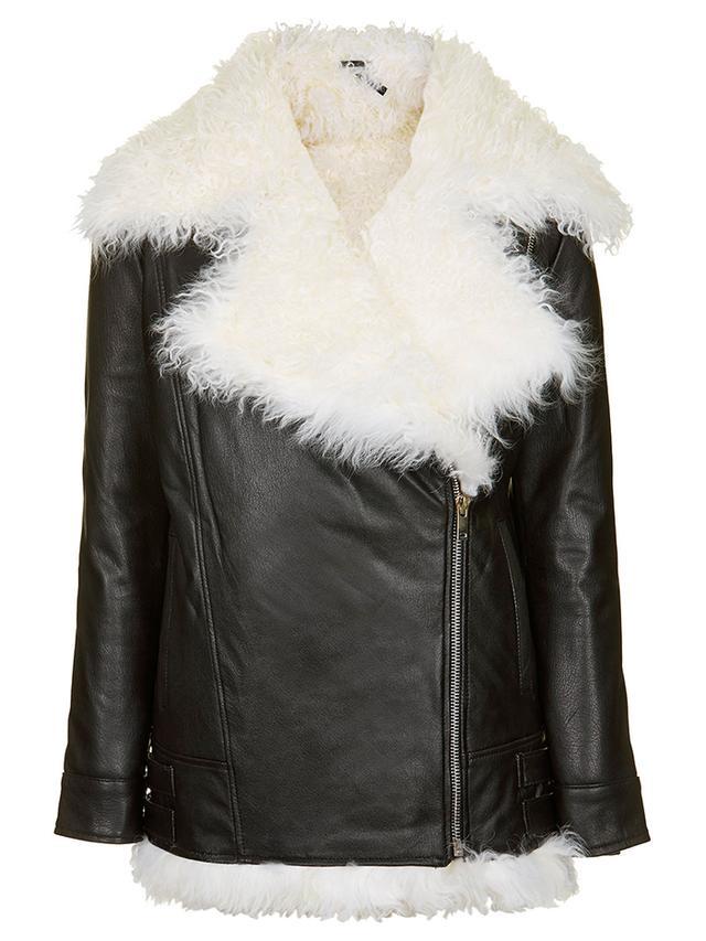 Topshop Shearling Biker Jacket