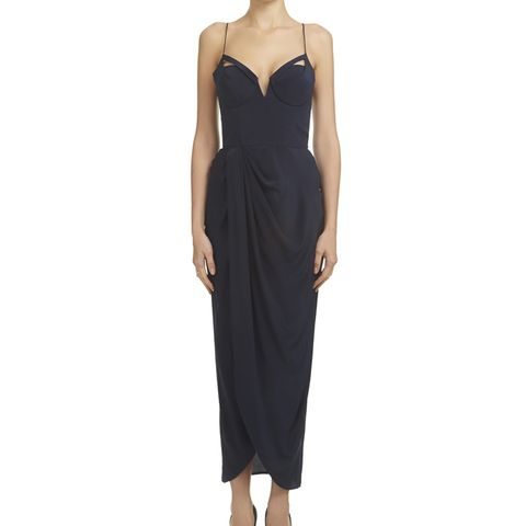 Silk Drape Long Dress