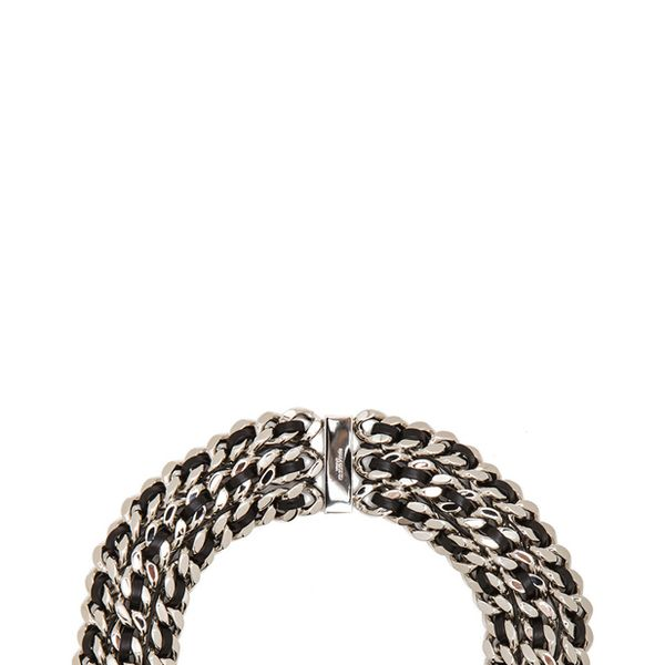 Saint Laurent Gourmette Choker in Palladium & Black